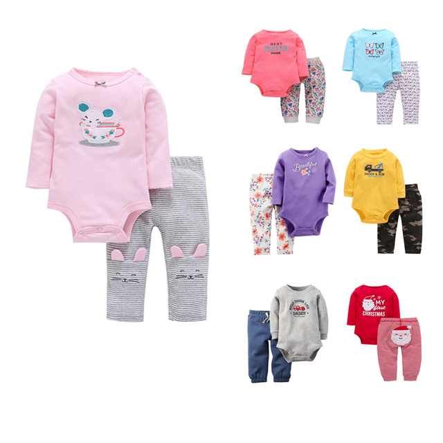 6f496a12cc46 Carter Newborn baby clothes Baby Boys and Girls Bodysuit Clothing Set Long  Sleeve Bodysuit Baby Clothes Set 2pcs/pack