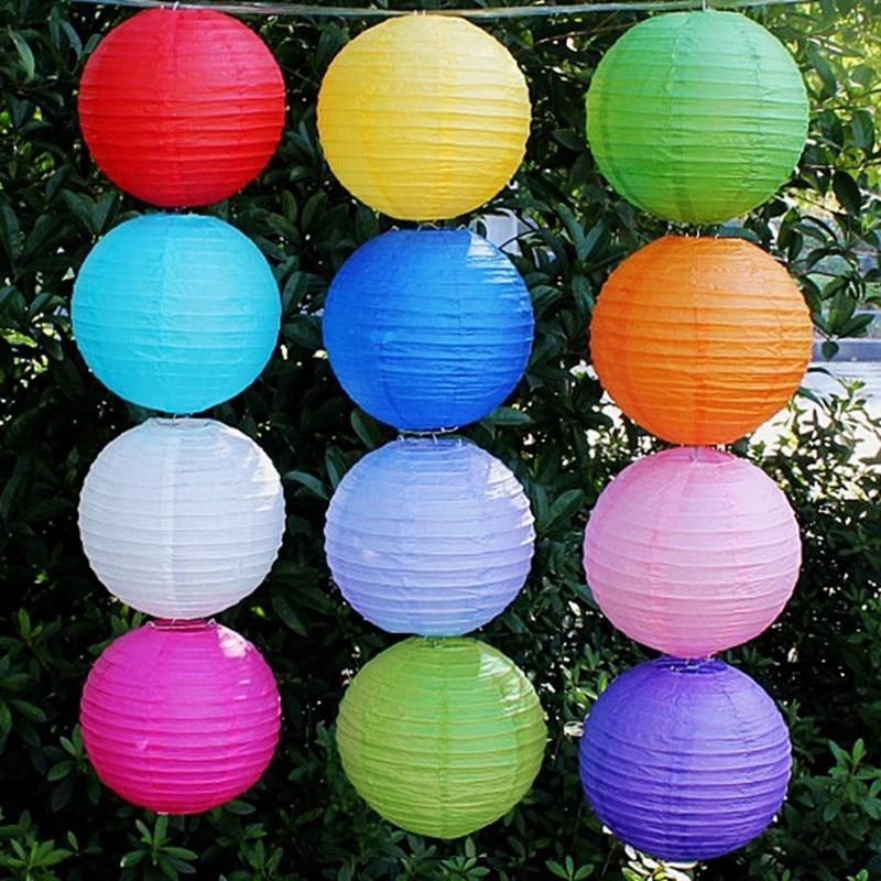 100pcs 8 20cm Mix Color Round Paper Lantern Chinese Lantern Lamps Festival Wedding Decoration Party Lanterns