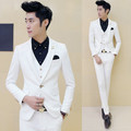Mens Off White Tuxedos With Pants 3 pieces / Set (Jacket+Vest+Pant) Wedding Suits for Men Korea Design Slim Fit Dress Costume