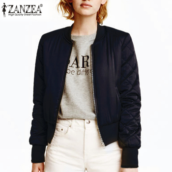 ZANZEA 2020 Fashion Women Winter Warm Quilted Zipper Stand Collar Slim Coat Jacket Padded Bomber Short