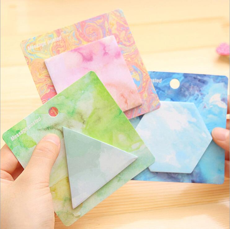 4 Designs 2 PC/set Fantastic Watercolor Geometric Sticky Notes Post It Bookmark Self-Adhesive Memo Pad