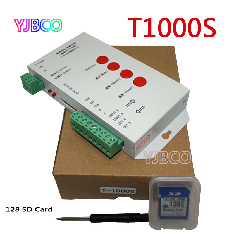 LED controller T1000S SD Card Pixels Controller for WS2801 WS2811 WS2812B LPD6803 LED 2048 DC5 24V