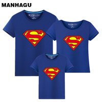 MAHAGU Brand 1 Pieces Family Matching Clothes Parent Kid Look Superman T Shirts Summer Spring Father
