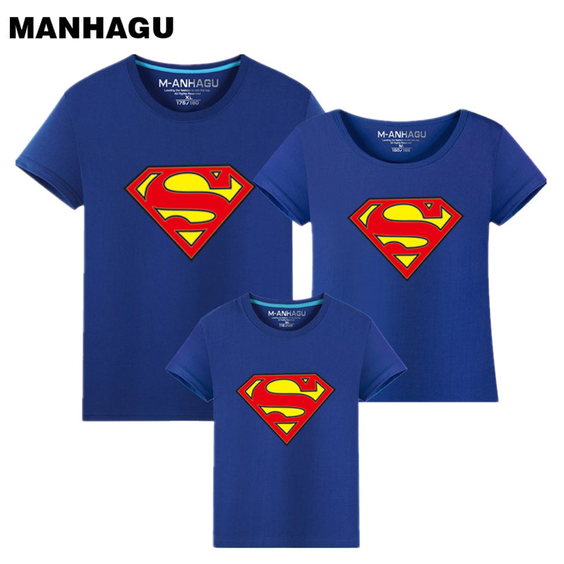 MAHAGU Brand 1 Sztuk Family Matching Clothes Parent Kid Look Superman Koszulki Summer Spring Father Mother Kids Cartoon Outfits