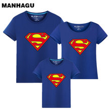 MAHAGU Brand 1 Pieces Family Matching Clothes Parent Kid Look Superman T-Shirts Summer Spring Father Mother Kids Cartoon Outfits 2018 new family look superman t shirts 9 colors summer family matching clothes mom
