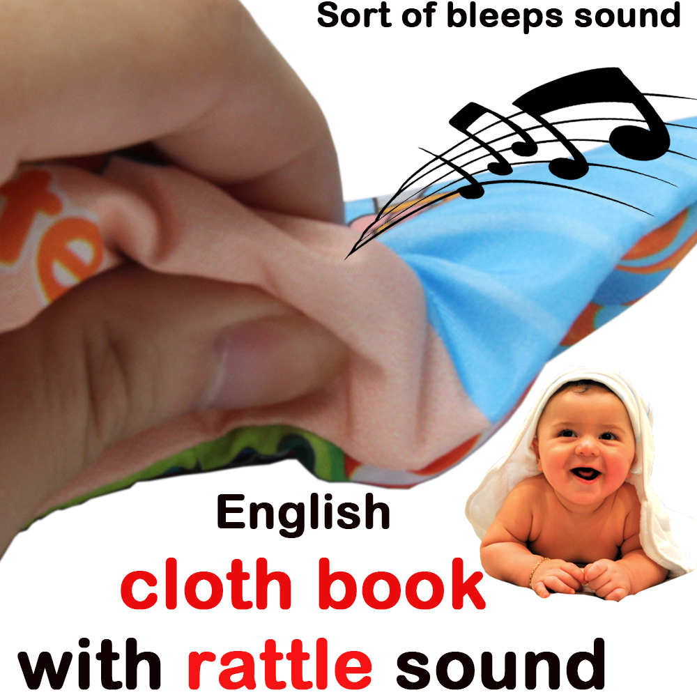 English Word Baby Cloth Book Toys With Jeeps Bleeps Sound When Squezzing It Not Any Language Voice For Babies Ages 0-12 Months
