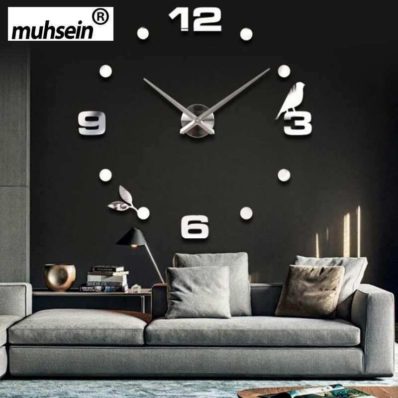 Muhsein 공장 2020 새로운 현대 diy 검은 고양이 새 석영 벽시계 홈 장식 orologio muro livingroom 크리 에이 티브 시계 벽