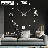 Muhsein Factory 2019 New Modern DIY Black Cat Bird Quartz Wall Clocks Home Decor Orologio Muro Livingroom Creative Watch Wall