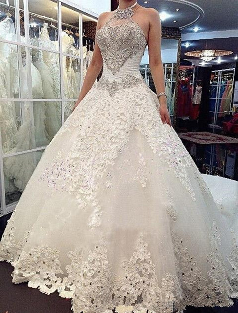 Halter Neckline Ball Gown Wedding Dress With Beaded Bodice Lace