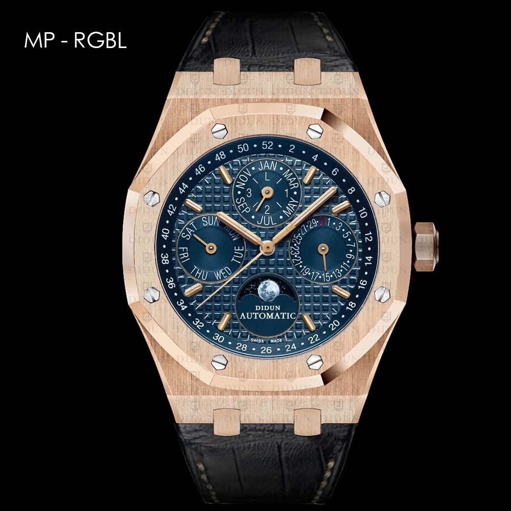 DIDUN watch Men Top Brand Luxury Mechanical Automatic Rosegold Watch Military Business Watch Moonphase Leatherstrap Wristwatch цена и фото