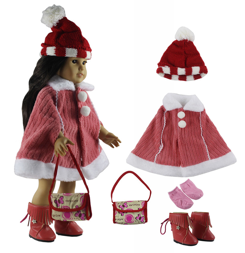 5in1 Doll Clothes+1 Hat+1 pairs Boots+1 pairs Socks+1 Bag for 18 American Girl Doll X22 ...