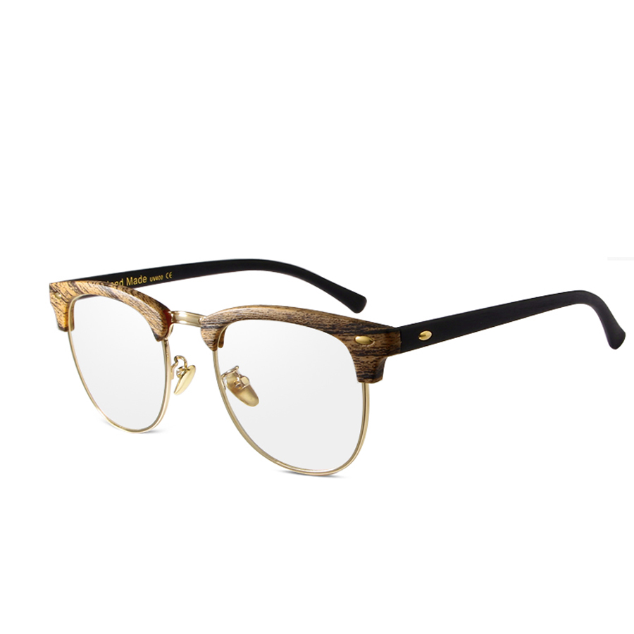 MOLGIRL 2016 New Rivets Square Bamboo Glasses Frames Men Clear Lens ...