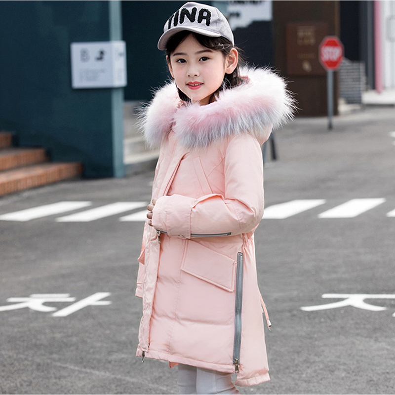 2018 Winter Down Jacket with Parka Real Fur Hood Coat Long Thicken Girl Clothes Children Garment Kids Warm Coat Girls Clothing 2018 girls clothing warm down jacket for girl clothes 2018 winter thicken parka real fur hooded children outerwear snow coats