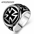 AMOURJOUX Retro Black Oil Drip Cross Punk Men Jewelry Cross Round Stainless Steel Rings US Size 8-11 One Piece Drop Shipping