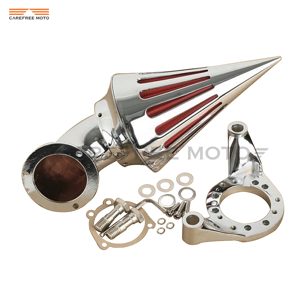 Chrome Aluminum Motorcycle Kit-Cone Spike Air Cleaner Intake Filter case for Harley CV Carburetor Delphi V-Twin chrome aluminum motorcycle kit cone spike air cleaner intake filter case for harley cv carburetor delphi v twin