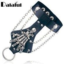 Unisex Cool Punk Rock Gothic Skeleton Skull Hand Glove Chain Link Wristband Bangle Leather Bracelet S244