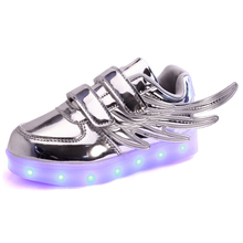 Kids Shoes Boys Girl Lights Led Shoes Glowing Colorful Wings Usb Charging Lamp Fluorescent Luminous Children Shoes With Light