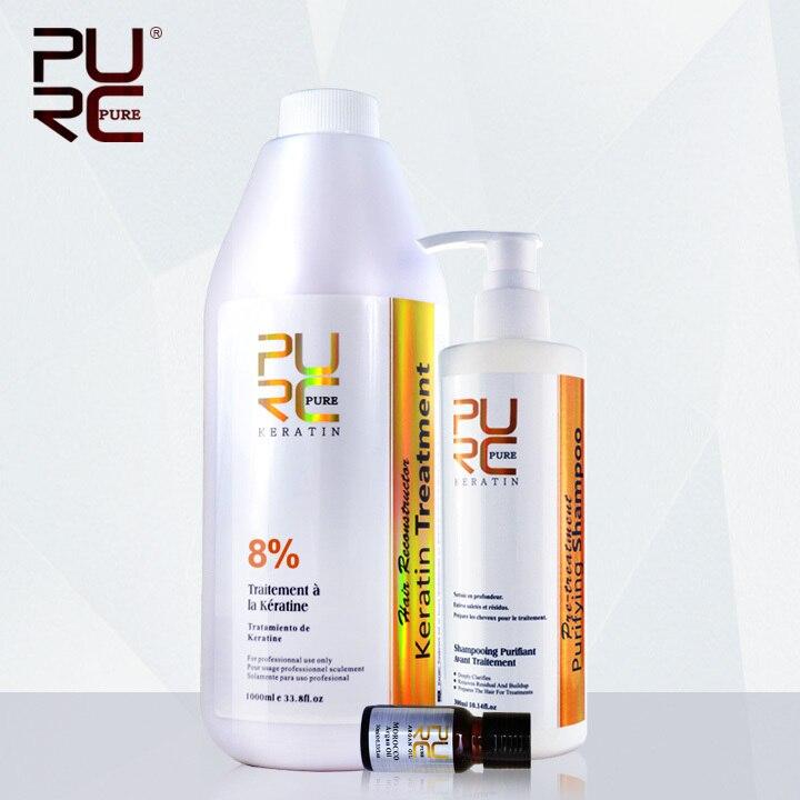 8% traitement de kératine brésilien pour les Forts produits de Coiffure et 300 ml shampooing purifiant produits de salon de coiffure en gros