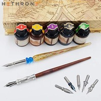 Hethrone Quill Vintage fashioned Handmade Wood Dip Pen Writing Caligraphy glass Wood Stem Pen Set gift ink Dip pen Set