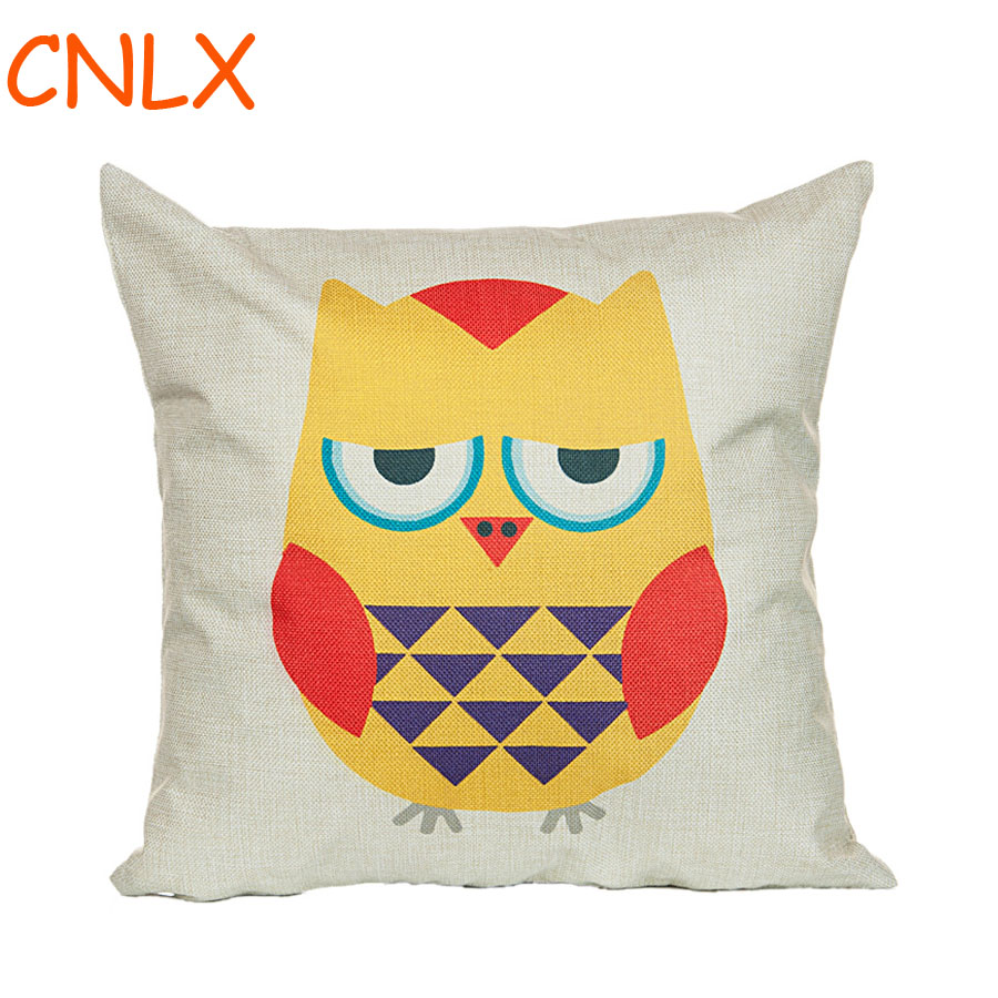 factory direct supply cute cartoon personality owl linen kids throw pillow kindergarten chair. Black Bedroom Furniture Sets. Home Design Ideas