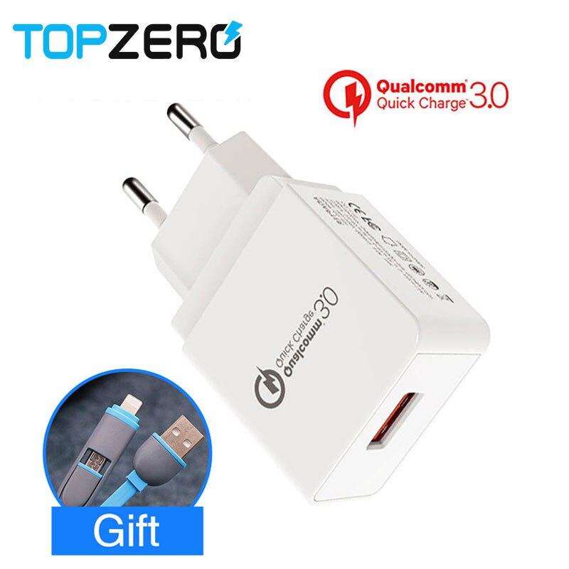TOPZERO 18 W UE Charge Rapide 3.0 Mur Chargeur Usb Portable chargeur Adaptateur Rapide Chargeur Mobile Téléphone Câble Cadeau pour iphone Xiaomi