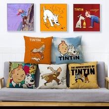 Comic Adventures Of Tintin Print Throw Pillow Cover 45*45 funda de cojín textil funda de almohada de lino sofá almohadas para decoración de hogar fundas