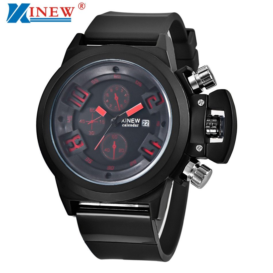 XINEW Brand Mens Watches Relogio Masculino Luxury Silicone Quartz Wrist Watch Men Chronograph Date Clock Male Hours #JOIC superior xinew mens fashion silica sport date calendar chronograph analog quartz wrist watch relogio masculino waterproof sep 14