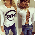 Fashion Sexy O-neck Number Printed Backside Hollow Out Long Sleeve Shirts Tops Slim Tees Casual T-shirt