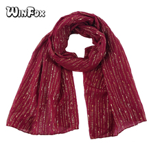 Winfox Red Bronzing Foil Gold Long Soft Scarves For Women Lady Striped Shawl Scarf