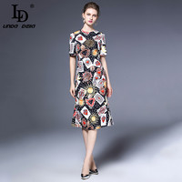 High Quality 2017 Autumn Designer Runway Dress Women S Half Sleeve Poker Printed Bodycon Sheath Vintage