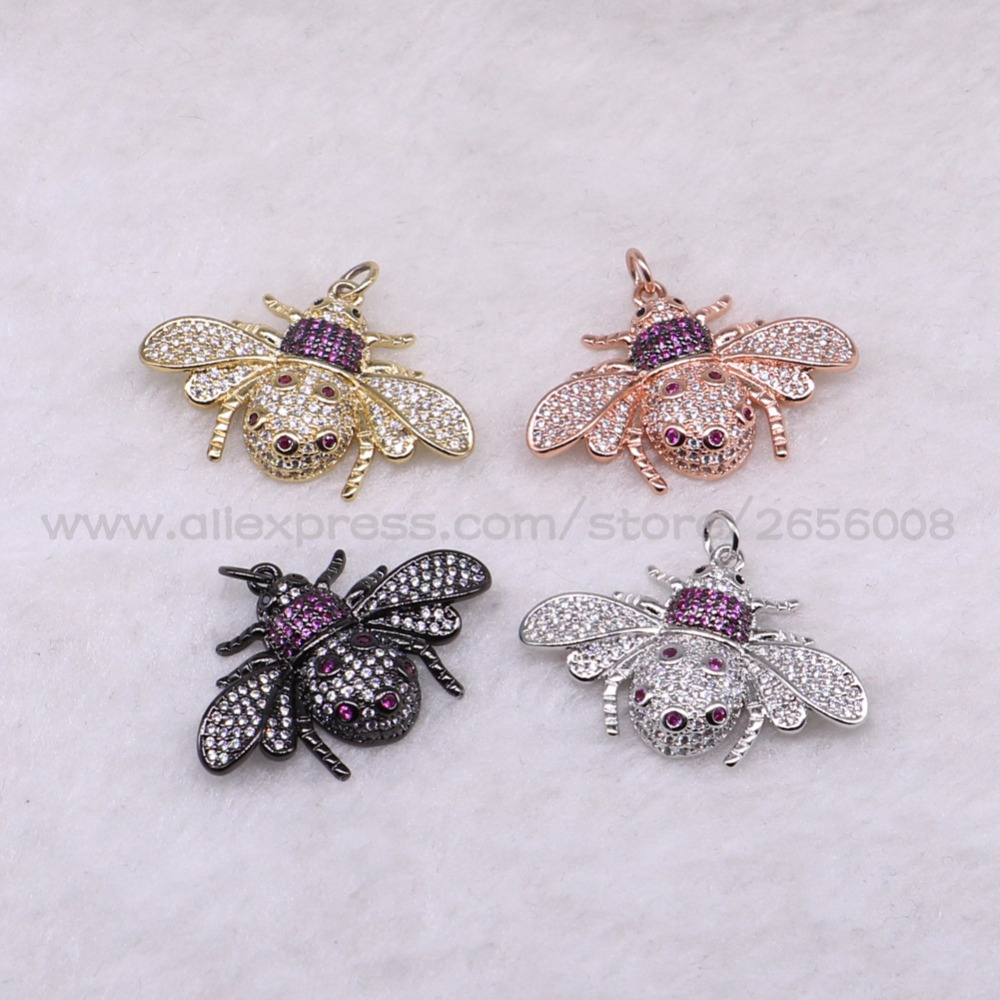 4 Pcs High quality Bugs insect micro pave Cubic Zircon tiny bugs pendant  Mix color lifelike Beatles charms jewelry pendant 3176-in Pendants from  Jewelry ... c1feec7c3bc4