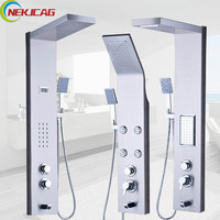 Thermostatic Rain Waterfall Shower Panel Stainless Steel Tower Shower Column Massage System Jets Multifunction Outlet Water