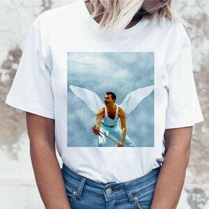 Freddie Mercury Queen Band T Shirt Women Harajuku Vintage Ullzang T-shirt Fashion Queen Tshirt 90s Graphic Rock Top Tees Female(China)