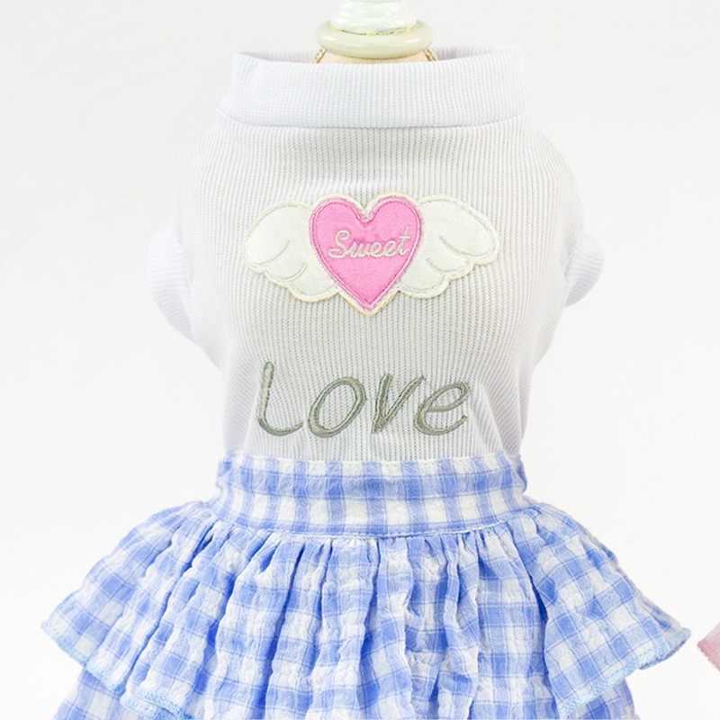 Mignon doux Pet chiot chien vêtements Plaid court princesse jupe Top avec amour coeur motif chien robes Ropa Perro