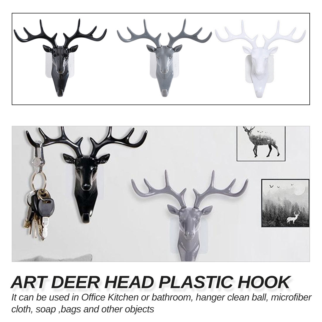 Plastic Wall Rack  Key Hat Bag Jewelry Rack For Living Room Deer Head Decor Hook Organizer