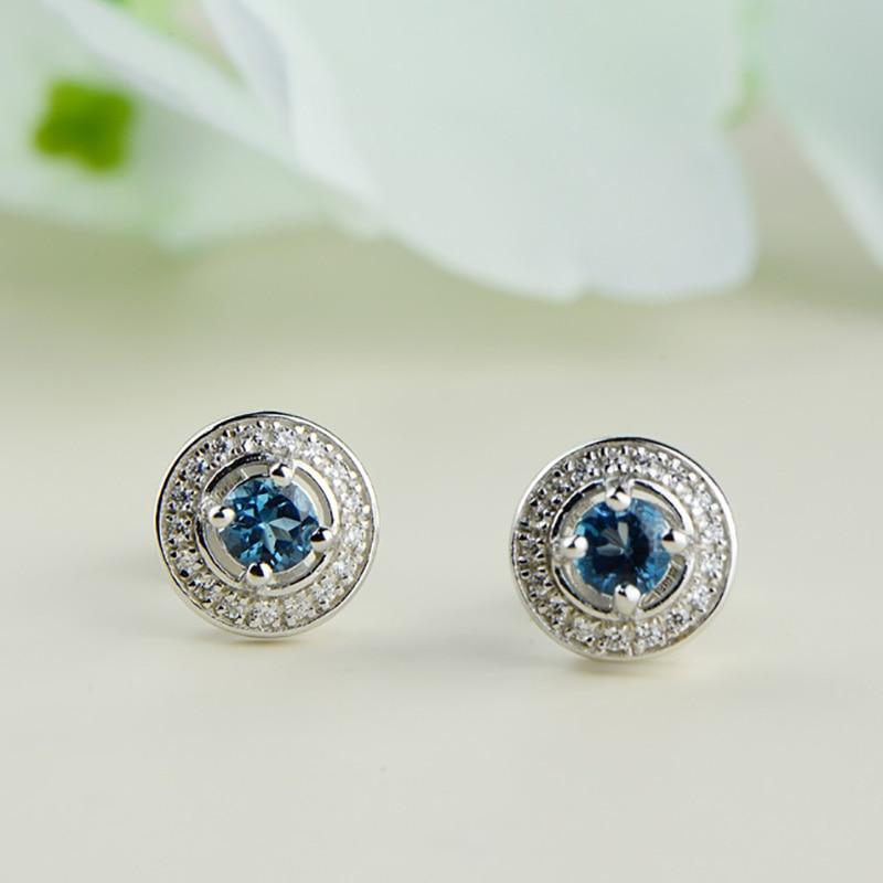 925 Sterling Silver Jewelry Natural Gemstone Blue London Topaz Studs Earrings For Women Jewellery Accessories Plata De Ley 925
