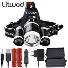 Litwod z20 XM-L T6, масштабируемый головной фонарик, внешний аккумулятор, Головной фонарь, 15000 люмен, перезаряжаемый светодиодный налобный фонарь