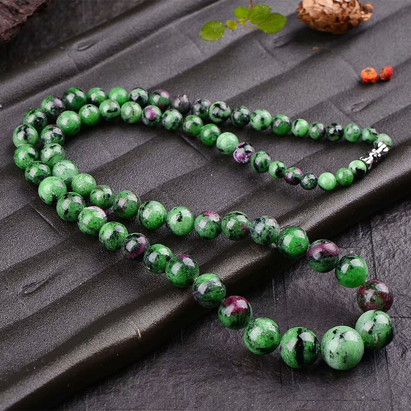 купить Wholesale Red and Green Treasure Natural Stone Necklace Round Beads Tower Chain Necklace Lucky for Women Simple Stone Jewelry по цене 1176.36 рублей
