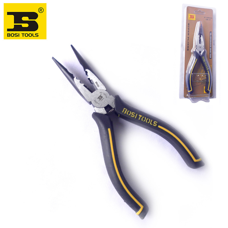 BOSI high quality CR-V steel multi-purpose 6 wire cutting stripping plier bosi tool 10 250mm curved jaw lock grip plier carbon steel silver tone