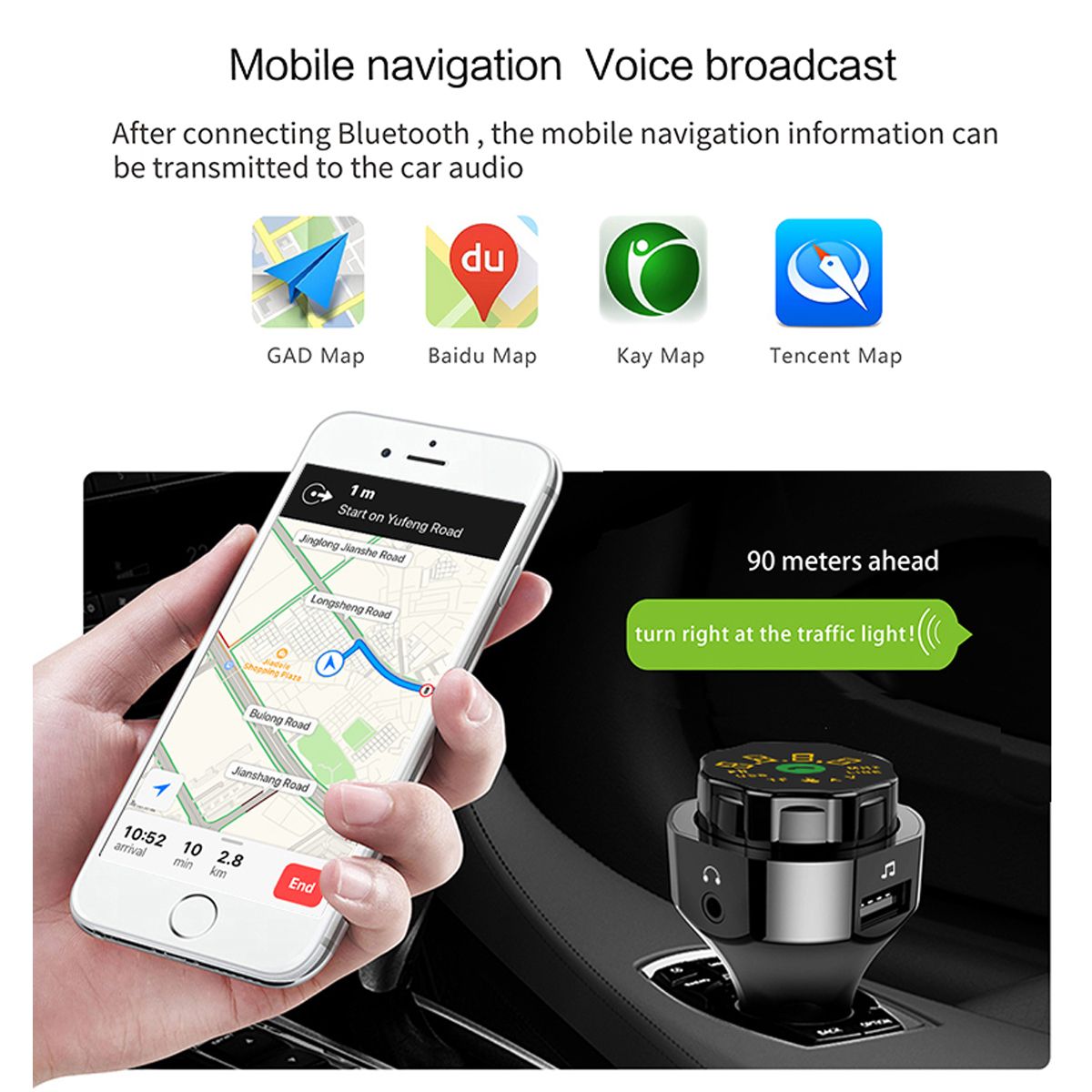 Image 5 - AP06 QC3.0 Fast Car Charger Wireless Bluetooth FM Transmitter MP3 Player Hands free Calling Car Kit with Dual USB and AUX Ports-in FM Transmitters from Automobiles & Motorcycles