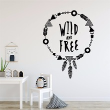 Wall Sticker For Kids Wild and Free Quote Decals Motivational Words Mural Adorable Boho Necklace Style AY1061