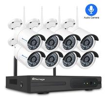 Techage 8CH аудио звук беспроводной видеонаблюдения системы 1080 P 2MP Wi Fi NVR водостойкий камера P2P комплект 3 ТБ HDD