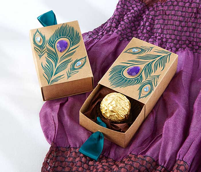 Jeweled Peacock Kraft Favor Boxes Candy Gift Boxes For Party Favors 50pcs