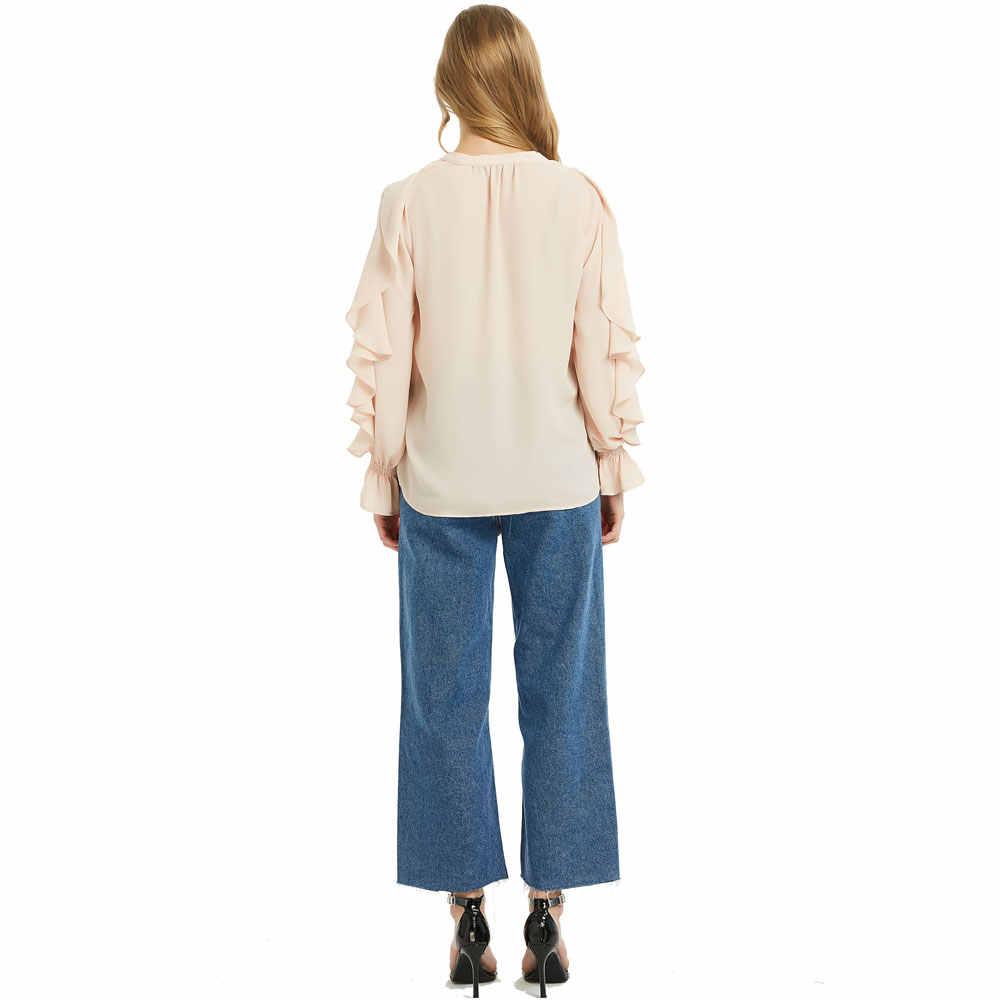 Doce Babados Chiffon Blusas Moda Feminina Camisas de Manga Longa Blusas Mulheres Elegantes V Pescoço Encabeça Blusas Das Senhoras Do Sexo Feminino