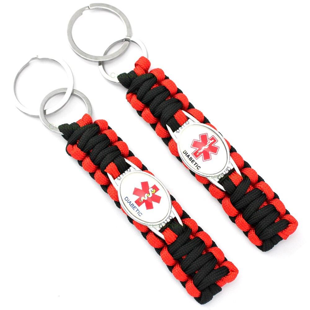 Diabetes Diabetic Type 1 2 Keychain Medical Alert 25*18mm Glass Cabochon Paracord Key Chain Keychain Women Men Jewelry Gift