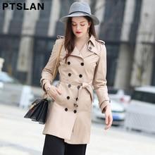 Ptslan 2017 Women'S Genuine Sheepskin Leather Coat Female Real Lambskin Jackets Long Basic Good Qual