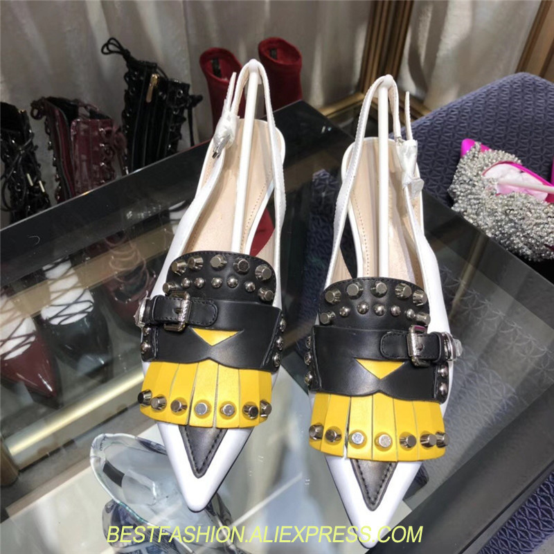Pointed Toe Tassel Shoes Women Thin Heel Stiletto Fringe Tassel Mixed Color Pumps Cut Out Woman Shoes Rivets Real Leather Shoe
