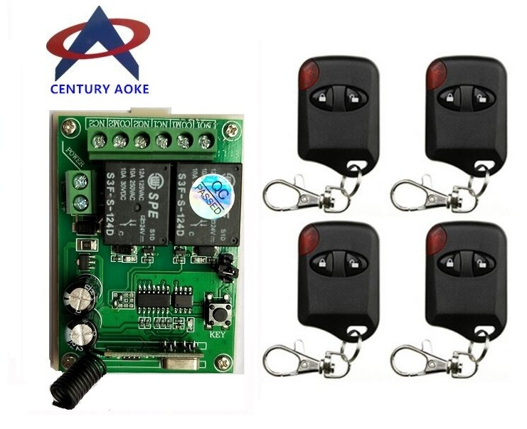 DC24V 2CH RF Wireless Remote Control System teleswitch 2 Transmitter and 1receiver universal gate remote control radio receiver