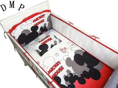 Promotion! 6PCS cartoon 100% Cotton Baby Crib Bedding Set Kids Cot Bedding Set for Cot ,include:(bumper+sheet+pillowcase)