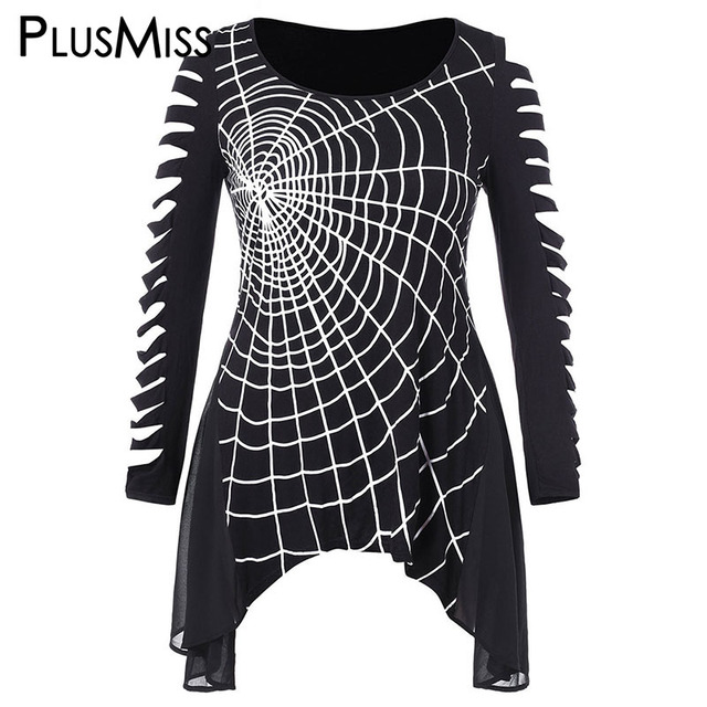 6a50561672e5a PlusMiss Plus Size 5XL-L Spider Web Halloween Graphic Ripped Tunic T Shirts  Women Long Sleeve Black Punk Rock Tees Tops Big Size